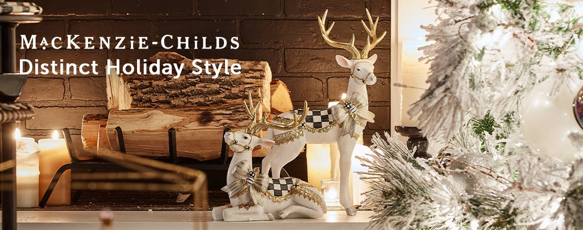 MacKenzie-Childs Distinct Holiday Style at ShopHQ - 482-923 MacKenzie-Childs White Bow Tie Standing Or Sitting Deer Figurine