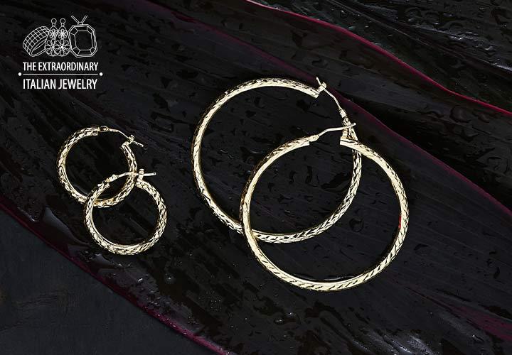 Stefano Oro - 182-799 Stefano Oro 14K Choice of Gold Tubing Choice of Size Diamond Cut Hoop Earrings