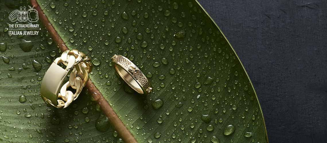 Stefano Oro - 182-314 Stefano Oro Glitter Ricami 14K Gold Screw Stud Eternity Band Ring, 2.09 grams - 183-914 Stefano Oro Men's 14K Gold Grumetta Wide Link Ring