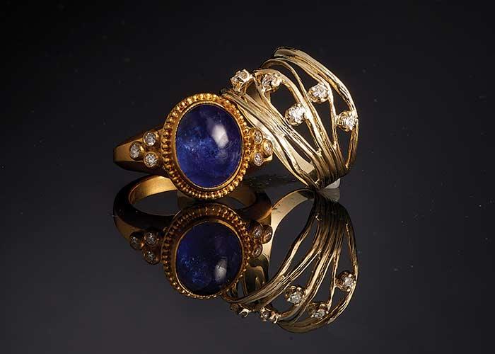180-330 Golden Odyssey 14K Gold 0.15ctw Diamond Scattered Ring -  166-099 Cevherun 24K Gold 12 x 10mm Oval Tanzanite & Diamond Beaded Halo Ring