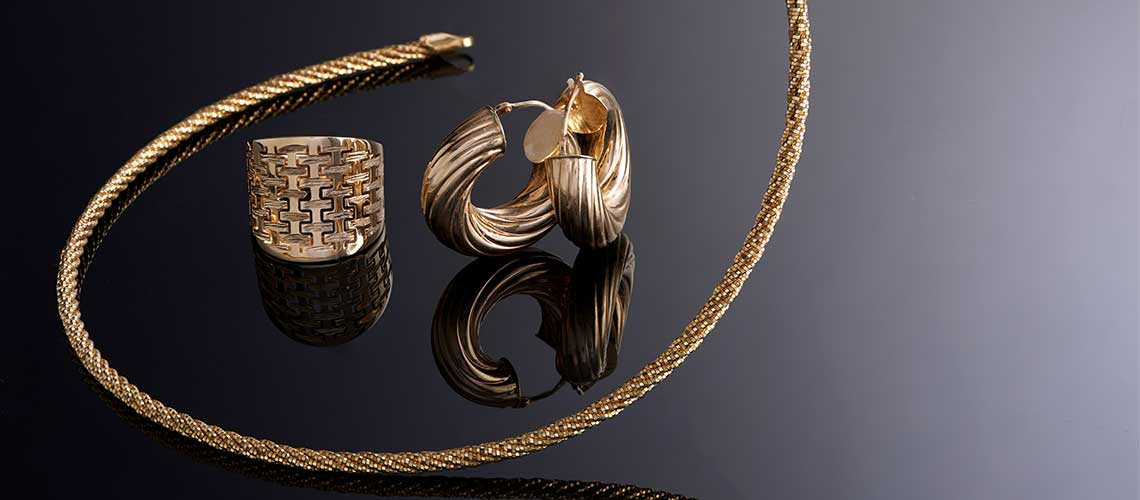 166-083 Gold of Distinction™ 14K Gold 1 Twisted Torchon Hoop Earrings - 166-067 Gold of Distinction™ 24K Gold 16 Necklace, 17.4 grams - 166-086 Gold of Distinction™ 14K Gold Basket Weave Tapered Back Ring