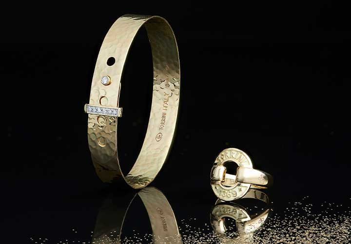 175-482 TORRINI 1369 Zero 14K Gold Diamond Accented Adjustable Bangle Bracelet - 175-476 TORRINI 1369 Icon 14K Gold Band Ring