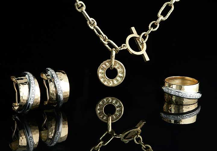 178-298 TORRINI 1369 Classic Nancy 14K Two-tone Gold 0.22ctw Diamond Crossover Ring - 178-297 TORRINI 1369 Icon 14K Gold 7.75 Oval Link Charm Bracelet, 18.9 grams