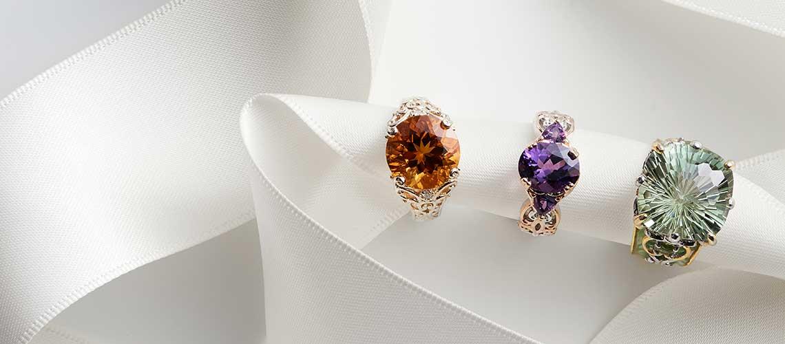 157-477 Gems en Vogue Honeycomb Cut Square Cushion Gemstone & Enamel Ring -  166-467 Gems en Vogue 2.89ctw Ametista do Sul Amethyst 3-Stone Ring - 166-469 Gems en Vogue 14K Gold 4.44ctw Ametista Madeira Citrine & Diamond Ring