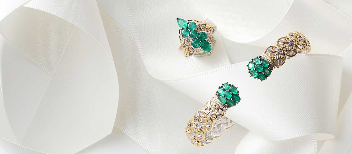 164-592 Gems en Vogue 6.5 or 7.25 2.38ctw Belmont Emerald Kissing Cuff Bracelet - 164-584 Gems en Vogue 1.97ctw Belmont Emerald Marquise Shaped Cluster Ring