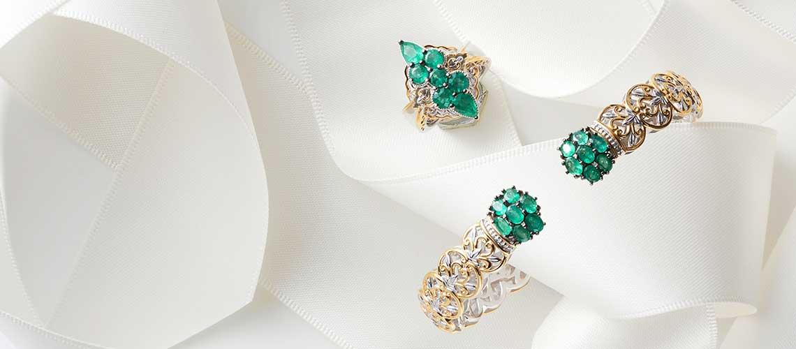 164-592 Gems en Vogue 6.5 or 7.25 2.38ctw Belmont Emerald Kissing Cuff Bracelet - 164-584 Gems en Vogue 1.97ctw Belmont Emerald Marquise Shaped Cluster Ring