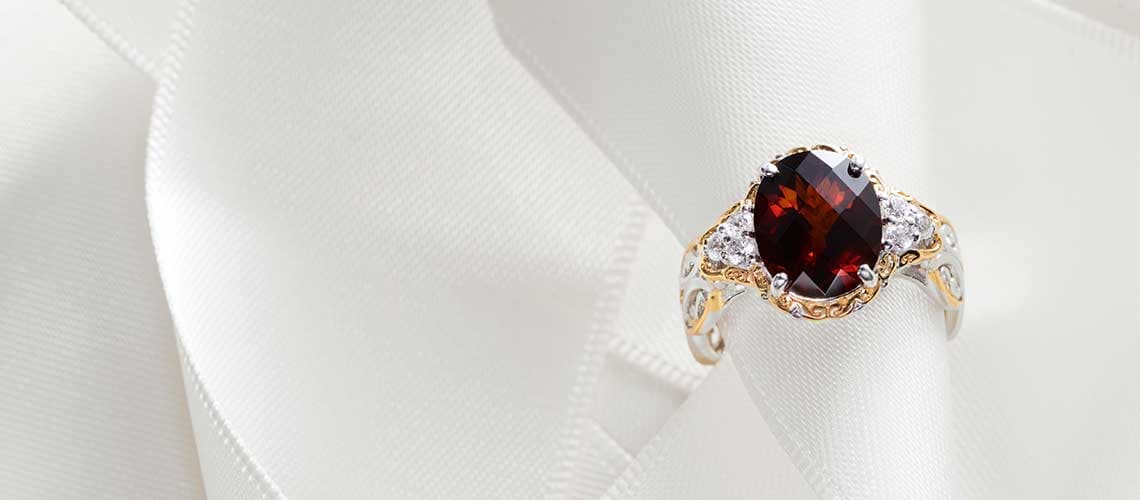 163-694 Gems en Vogue 3.80ctw Checkerboard Cut Red Citrine & White Zircon Ring