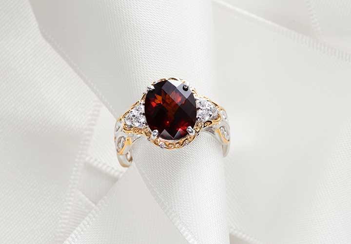 163-694 Gems en Vogue 3.80ctw Checkerboard Cut Red Citrine & White Zircon Ring