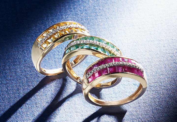 169-377 Gem Treasures® 14K Gold Gemstone & Diamond 2-Row Band Ring