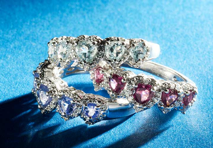 176-312 Gem Treasures® Sterling Silver Gemstone & White Zircon 5-Heart Band Ring