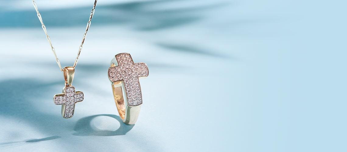 172-850 Beverly Hills Elegance® 14K Gold 0.15ctw Diamond Cross Pendant w 18 Avanza Chain