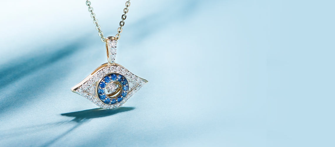 165-322 Beverly Hills Elegance® 14K Gold Diamond & Sapphire Moving Heartbeat Evil Eye Pendant w Chain