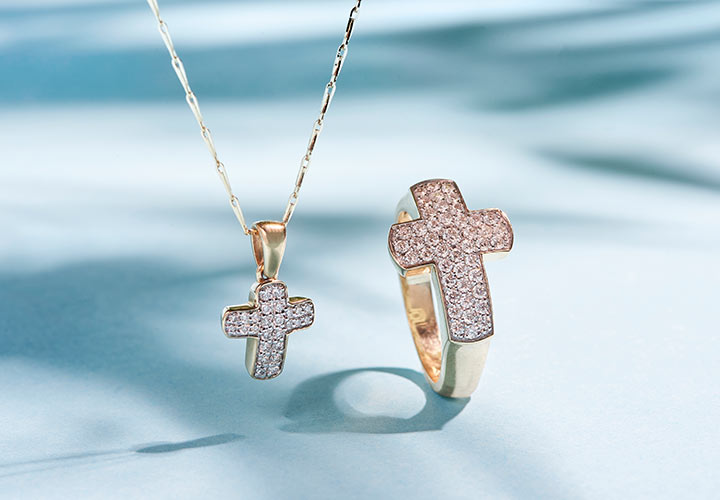172-850 Beverly Hills Elegance® 14K Gold 0.15ctw Diamond Cross Pendant w 18 Avanza Chain