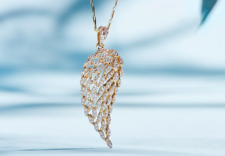 172-858 Beverly Hills Elegance® 14K Gold 0.55ctw Diamond Angel Wing Pendant w 18 Avanza Chain