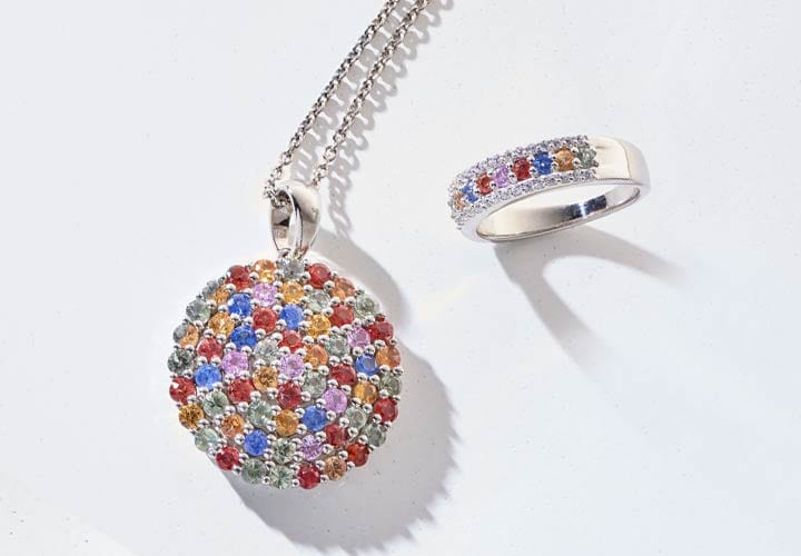 183-288 Gemporia 3.96ctw Multi Color Sapphire East-West Cluster Pendant w Chain, 183-274 Gemporia Multi Color Sapphire & White Zircon Band Ring