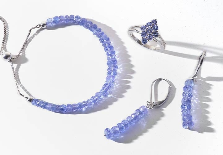 181-526 Gemporia Round Faceted Tanzanite Beaded Adjustable Slide Bracelet, 183-271 Gemporia Tanzanite Marquise Cluster Ring, 183-272 Gemporia 1.75 Faceted Rondelle Tanzanite Beaded Linear Drop Earrings