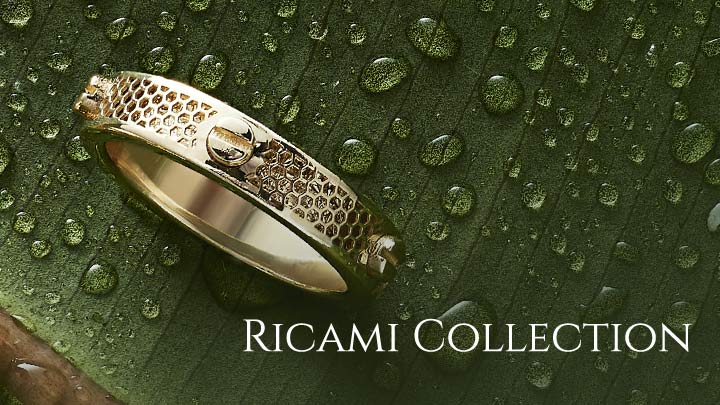 Ricami Collection - 182-314 Stefano Oro Glitter Ricami 14K Gold Screw Stud Eternity Band Ring, 2.09 grams