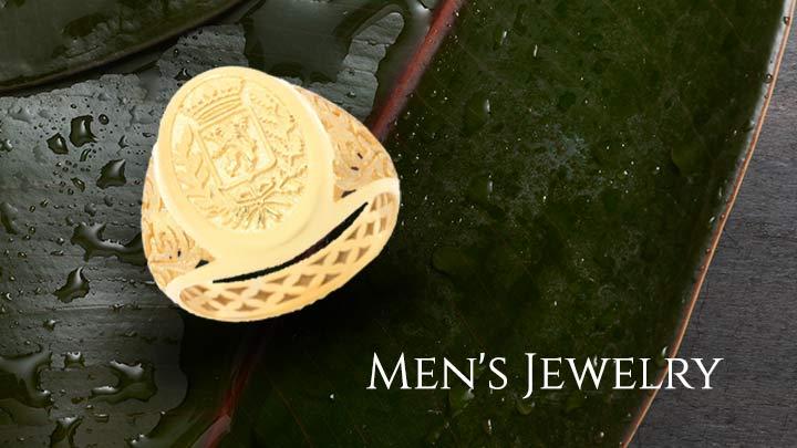 Men's Jewelry - 174-747 Stefano Oro 14K Gold Italian City Crest Filigree Signet Ring
