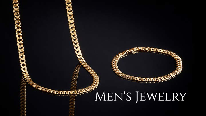 Men's Jewelry - 157-402 Stefano Oro Men's 14K Gold 8.5 Mirror Grumette Chain Bracelet, 5.41 grams, 157-401 Stefano Oro Men's 14K Gold 22 Mirror Grumette Chain Necklace, 13.2 grams