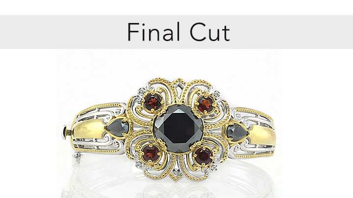 Final Cut - 163-330 Gems en Vogue Final Cut 7 or 7.5 Hematite & Gemstone Bangle Bracelet