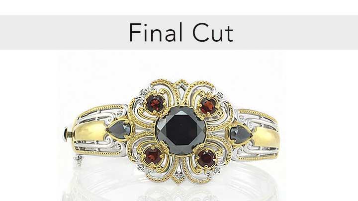 Final Cut - 163-330 Gems en Vogue Final Cut 7 or 7.5 Hematite & Gemstone Bangle Bracelet