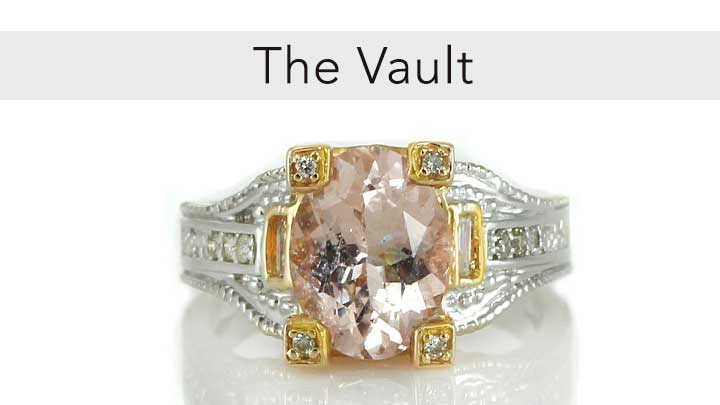The Vault  - 175-906 Gems en Vogue The Vault 14K White Gold Choice of Gemstone & Diamond Ring - Size 7