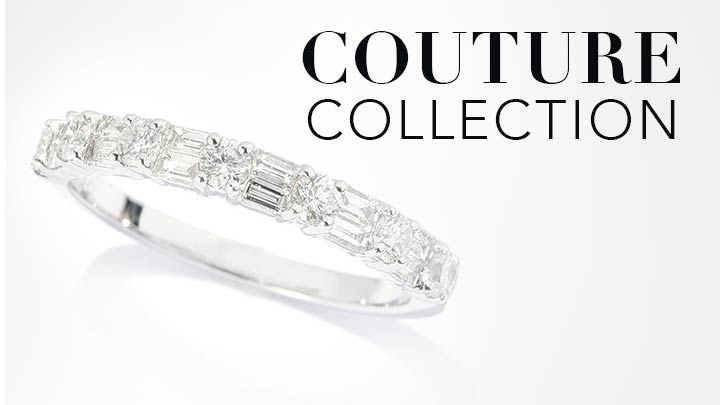 Couture Collection - 179-287 Gems of Distinction™ 14K White Gold 0.75ctw or 1.50ctw Round & Baguette Diamond Band Ring
