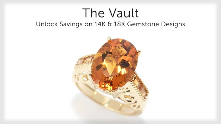 The Vault  - 182-911 Gems en Vogue The Vault 14K Gold 4.92ctw Madeira & Golden Citrine High Set Ring