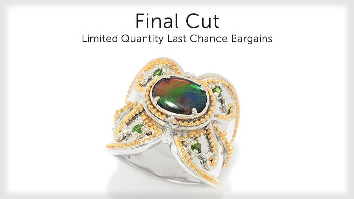 Final Cut - 175-627 Gems en Vogue Final Cut Ammolite Triplet & Chrome Diopside Wide Band Ring