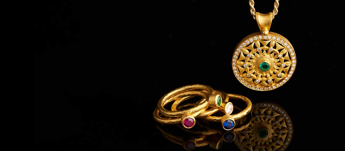 161-640 Cevherun 24K Gold Round Gemstone Hammered & Satin Finished Band Ring - 177-864 Cevherun 24K Gold Emerald & Diamond Medallion Pendant