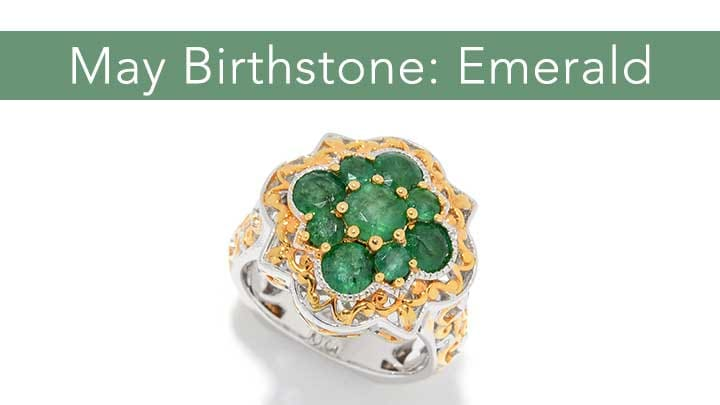 May Birthstone: Emerald - 162-646 Gems en Vogue 1.88ctw Emerald Cluster Quatrefoil Ring