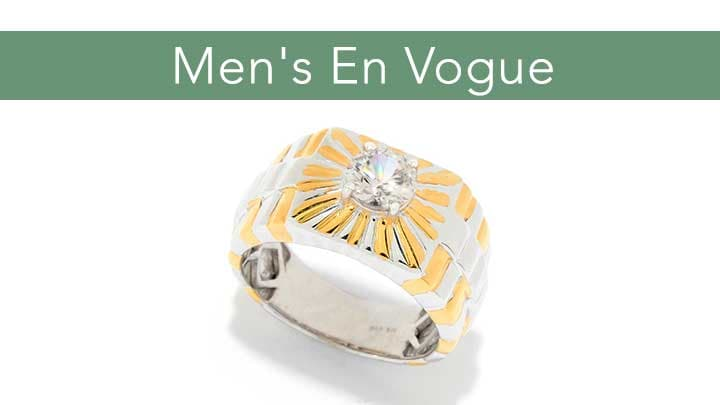 Men's En Vogue - 176-588 Men's en Vogue 1.55ctw White Zircon Solitaire Band Ring