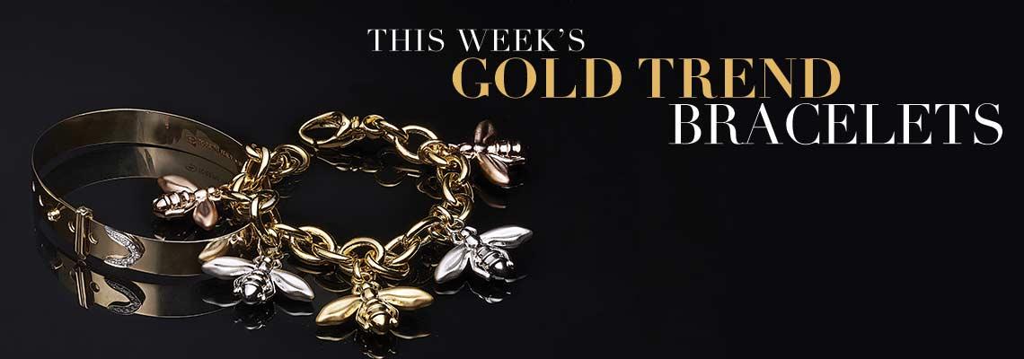 THIS WEEK'S GOLD TREND BRACELETS - 168478, 181-267 VOGA Collection 18K Gold 7.25 or 7.75 Electroform Bee Charm Bracelet
