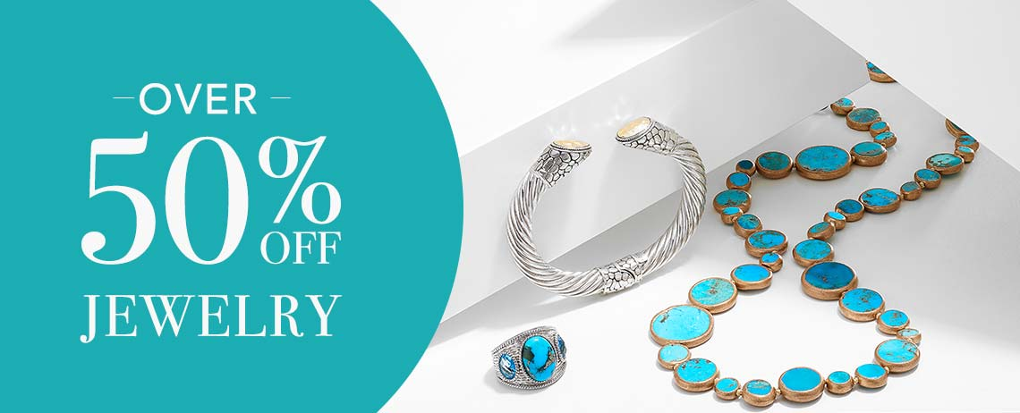 OVER 50% OFF  JEWELRY at Evine 163-303 Gem Insider® 14 x 10mm Persian Turquoise & Swiss Blue Topaz Wide Band Ring 155-577 Artisan Silver by Samuel B. 18K Gold Accented Choice of Size Hinged Cable Cuff Bracelet  169-951 Dallas Prince Sterling Silver 24 or 36 Coin Shaped Gemstone Necklace