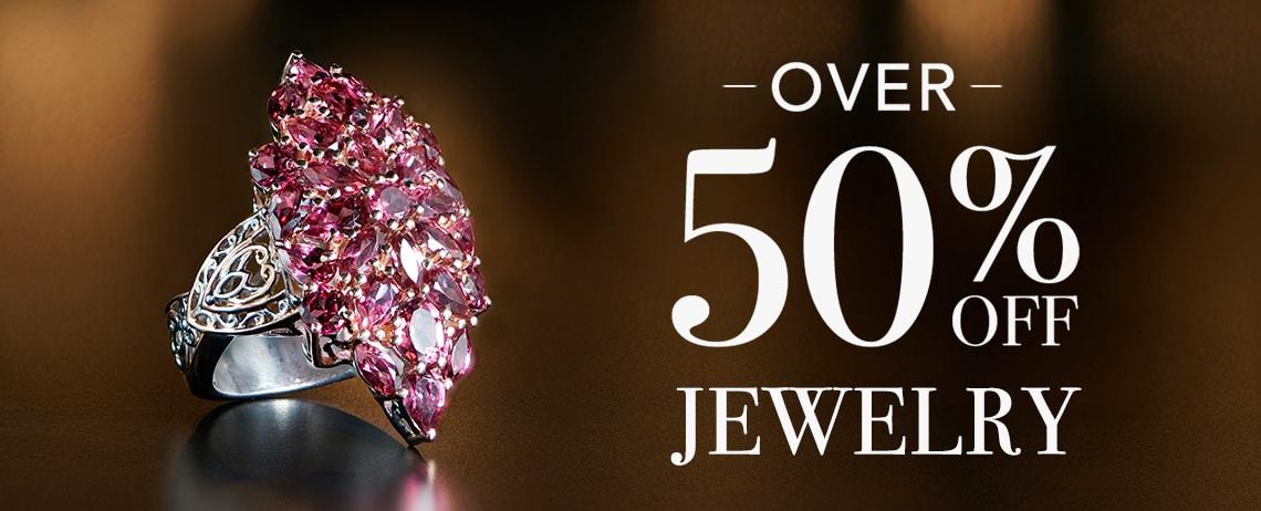 OVER 50% OFF JEWELRY at Evine - 173-127 Gems en Vogue 6.95ctw Rose Garnet Elongated Cluster Ring