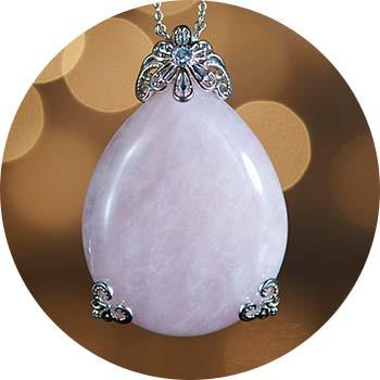 174-480   Gems en Vogue 50 x 40mm Oval Rose Quartz & Pink Tourmaline Pendant w Chain