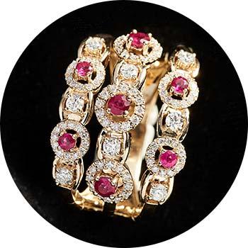 178-657   Sonia Bitton Galerie de Bijoux® 14K Gold 1.12ctw Diamond & Ruby 3-Row Flex Ring