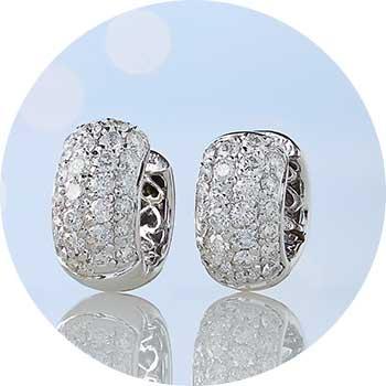 171-226   Sonia Bitton Galerie de Bijoux® 14K Gold 1.76ctw Diamond Huggie Hoop Earrings