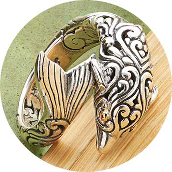 178-250   Artisan Silver by Samuel B. 18K Gold Accented Choice of Critter Bypass Ring