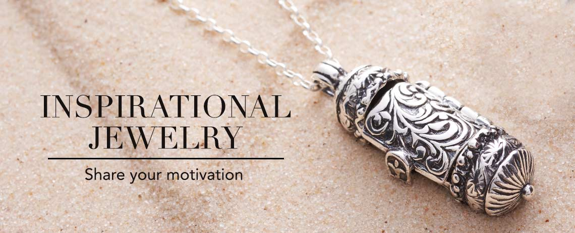 INSPIRATIONAL JEWELRY  Share your motivation - 166-583 Passage to Israel™ Sterling Silver Scrollwork Prayer Box Pendant with 18 Chain
