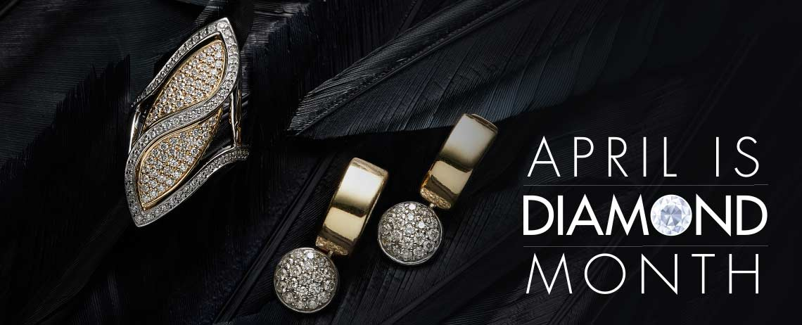 APRIL IS DIAMOND MONTH at Evine - 166-892 Beverly Hills Elegance® 14K Two-tone Gold 1 1.00ctw Diamond Disc Dangle Huggie Hoop Earrings  174-358 Beverly Hills Elegance® 14K Two-tone Gold 1.00ctw Pave Diamond Marquise Shaped Ring