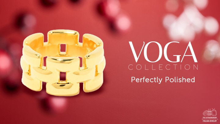 VOGA Collection at ShopHQ - 177-852 VOGA Collection 18K Gold Electroform Rectangle Link Eternity Band Ring