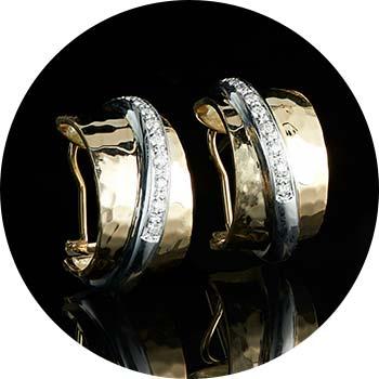 178-300 TORRINI 1369 Classic Nancy 14K Two-tone Gold 0.30ctw Diamond Hoop Earrings