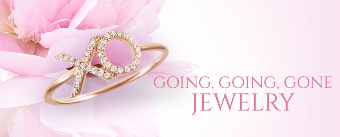 GOING, GOING, GONE JEWELRY at Evine - 176-362 Dettaglio 14K Gold Diamond Accented XO Ring - Size 7