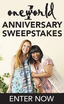 ONE WORLD ANNIVERSARY SWEEPSTAKES - 736-024 One World Printed Chiffon Sleeveless Knit Lined Lace Back Sharkbite Dress, 730-796 One World Stretch Knit Cold Shoulder Embellished Notch Neck Tunic, 736-026 One World Mixed Stitch Knit Cap Sleeve Knee-Length Self-Tie Cardigan