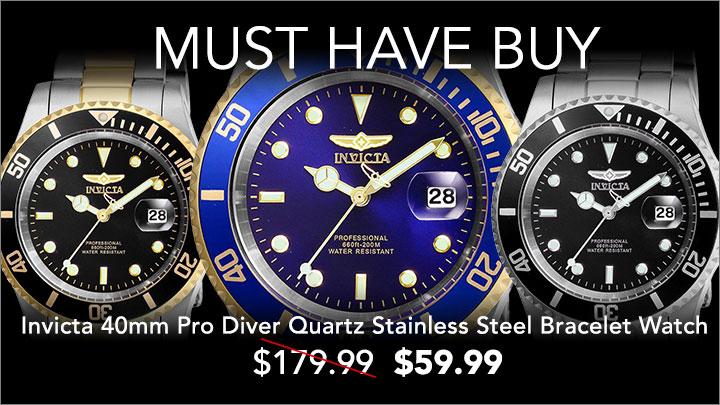 Invicta 40mm Pro Diver Quartz Stainless Steel Bracelet Watch at Evine $59.99 - 661-518 Invicta 40mm Pro Diver Quartz Magnified Date Window Stainless Steel Bracelet Watch