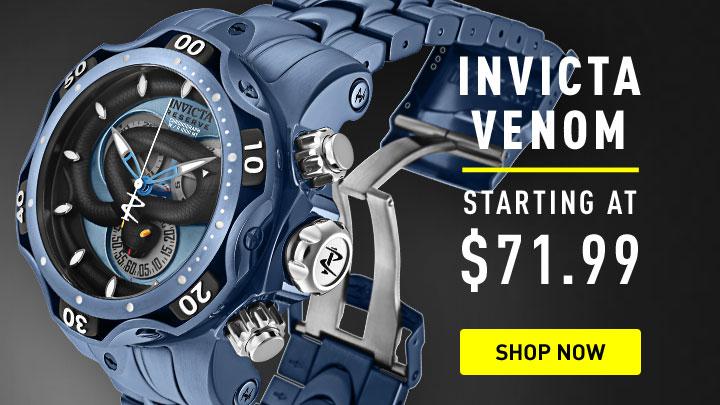 Men's Over 70% Off - 659-616 Invicta Reserve Women's Venom Python Quartz Silicone Strap Watch