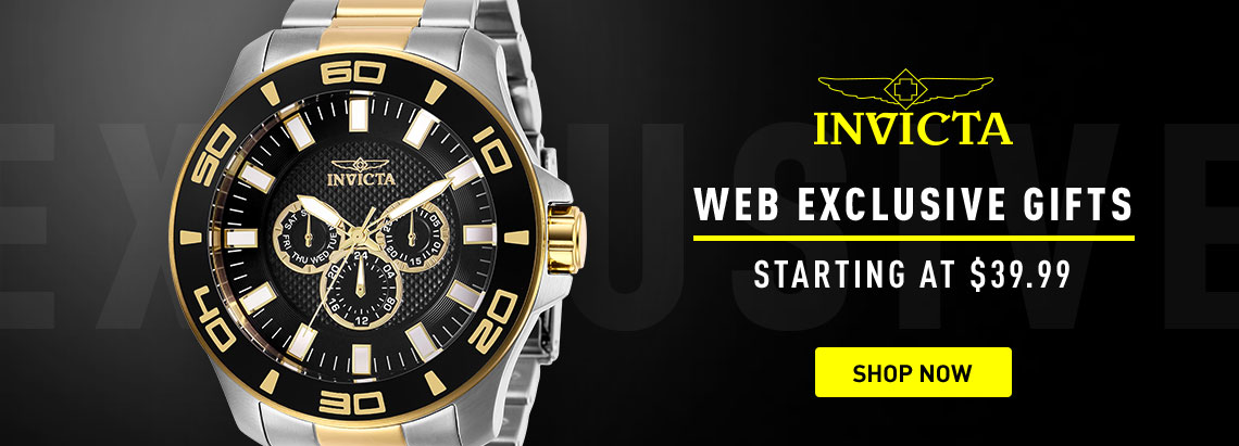 Invicta Web Exclusives - 662-535 Invicta Men's 50mm Pro Diver Quartz Day Black Dial Two-tone Stainless Steel Bracelet Watch