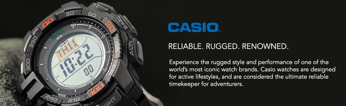 Experience the rugged style and performance of one of the world's most iconic watch brands. Casio watches are designed for active lifestyles, and are considered the ultimate reliable timekeeper for adventurers.