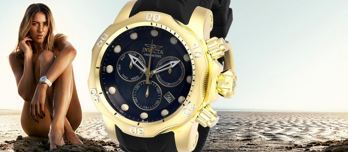 Invicta Sizzling Summer Sale - 669-499 Invicta Men's 52mm Venom Quartz Chronograph Mother-of-Pearl Silicone Strap Watch